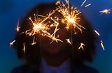 Girl Young Woman Playing with Sparklers