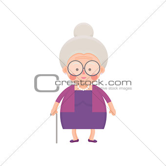Old Lady In Purple Dress with Walking Stick