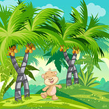 Children's illustration with a happy teddy bear in the jungle.