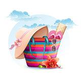 Beach bag with mat, hat