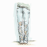 Illustration of blue jeans