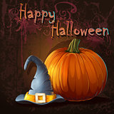 Illustration for halloween with pumpkin and hat