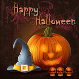 Halloween illustration with pumpkin, skull, cap