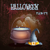 Halloween illustration with a bowler hat and cap
