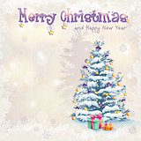 Greeting card for Christmas and the new year with a Christmas tree and gifts