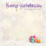 Greeting card for Christmas and the new year with gift boxes