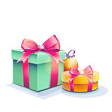 Image of gift boxes and Christmas tree balls