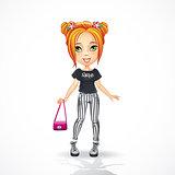 Urban teen girl in striped jeans.