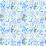 Holiday pattern in blue tones