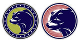 set of sport badges with bears
