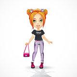 Urban teen girl in jeans.