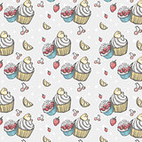 Seamless pattern with cakes and fruits