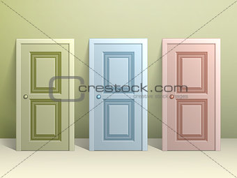 Three doors on the floor