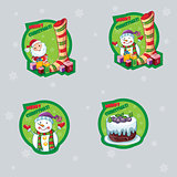 Set of labels for Christmas with a snowman, Santa Claus and cake.