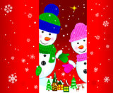 Two snowmen greeting card