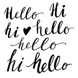 Hello hand-lettering words set