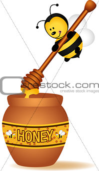 Bee carrying a wooden honey spoon