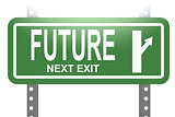 Future green sign board isolated