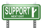 Support green sign board isolated