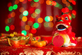 Chinese New Year objects on red glitter background
