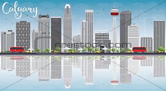 Calgary Skyline with Gray Buildings, Blue Sky and Reflections.