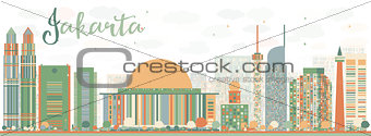 Abstract Jakarta skyline with color landmarks.