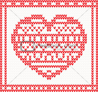 Knitted vector pattern with red heart.