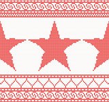 Christmas Knitted background with star.