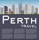 Perth skyline with grey buildings, blue sky and copy space