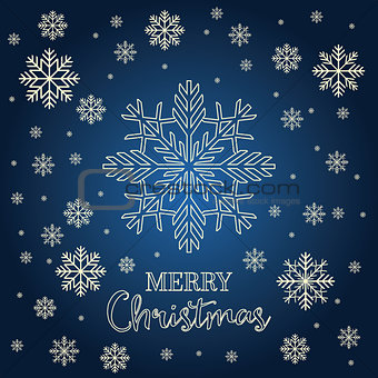 Christmas card with golden snowflakes.