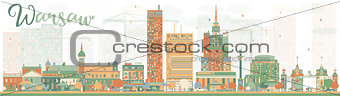 Abstract Warsaw skyline with color buildings
