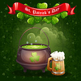 Greeting card for St. Patricks Day with a mug
