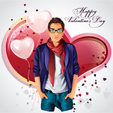 Greeting card with a boy on a background of heart