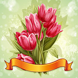 Image of a bouquet of flowers of pink tulips