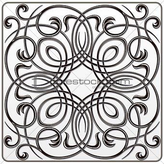 black white symmetrical floral pattern for engraving