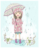 Cute little girl holding umbrella. Autumn background with rain
