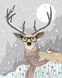Cute hipster  deer with scarf and glasses. Winter night