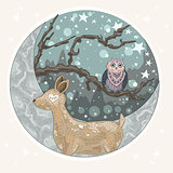 Cute dreaming deer background with mountains, tree, owl, moon