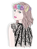 Young girl  with flower crown. Fashion illustration.