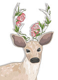 Cute hipster deer with flowers on his horns.