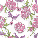 Seamless pattern with rose flowers, hearts and jewelry