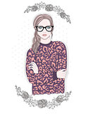 Young fashion girl illustration. Hipster girl with glasses