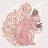 Cute pink squirrel holding acorn. Illustration for kids