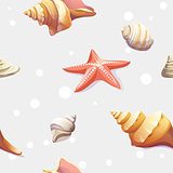 seamless texture with the image of seashells