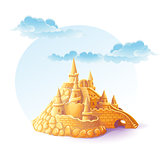 Illustration sand castle on the background of sky