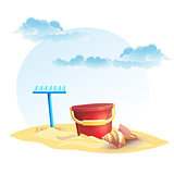 Illustration for children's sand bucket and a rake with shell