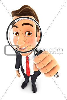 3d businessman looking into a magnifying glass