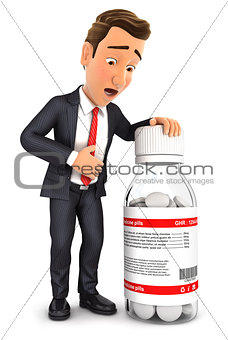 3d businessman stomach ache