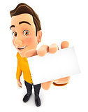 3d man holding business card