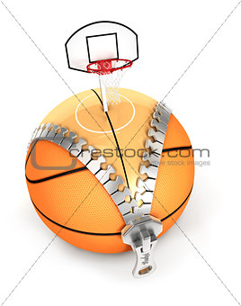 3d unzip basket ball concept
